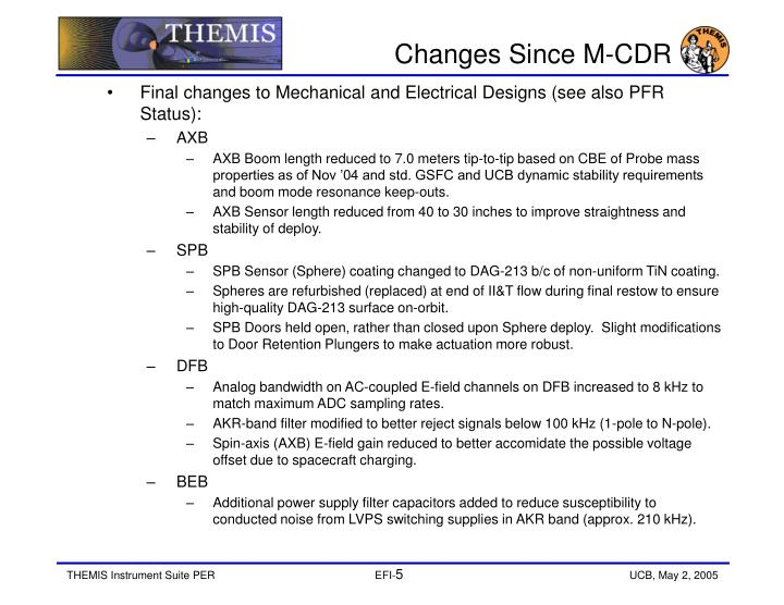 Changes Since M-CDR