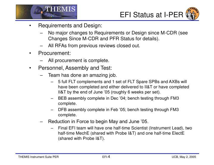 EFI Status at I-PER