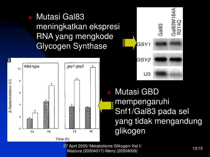 Mutasi Gal83 meningkatkan ekspresi RNA yang mengkode Glycogen Synthase
