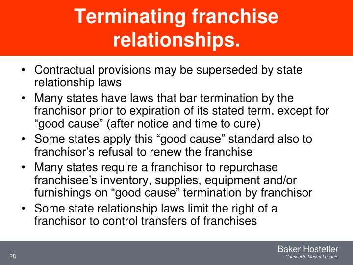 Terminating franchise relationships.