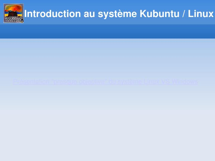 Introduction au syst me kubuntu linux