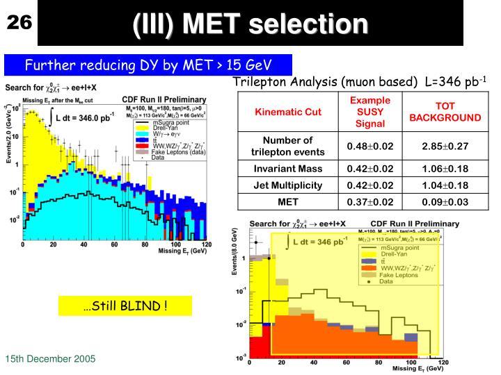 (III) MET selection