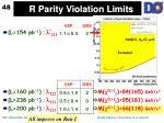 r parity violation limits