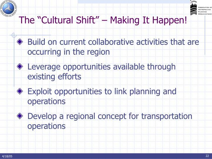 "The ""Cultural Shift"" – Making It Happen!"
