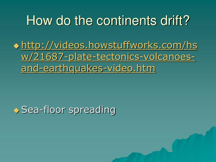 How do the continents drift?