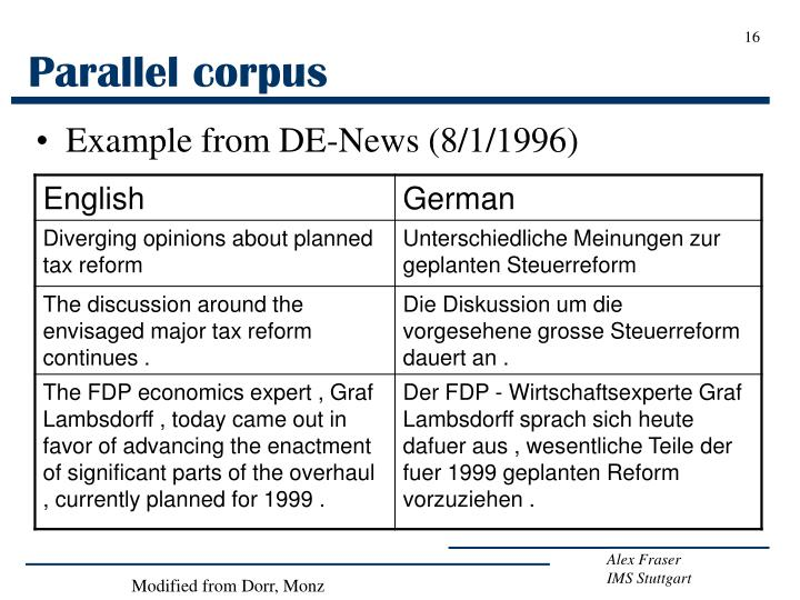 Parallel corpus
