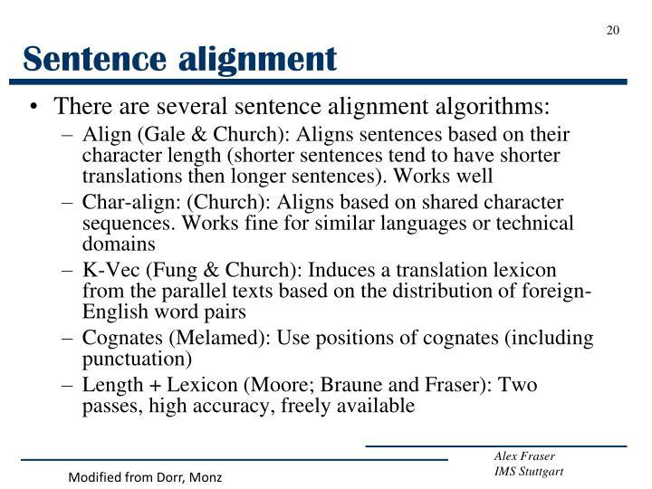 Sentence alignment