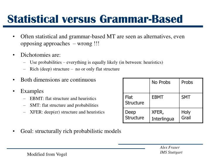 Statistical versus Grammar-Based