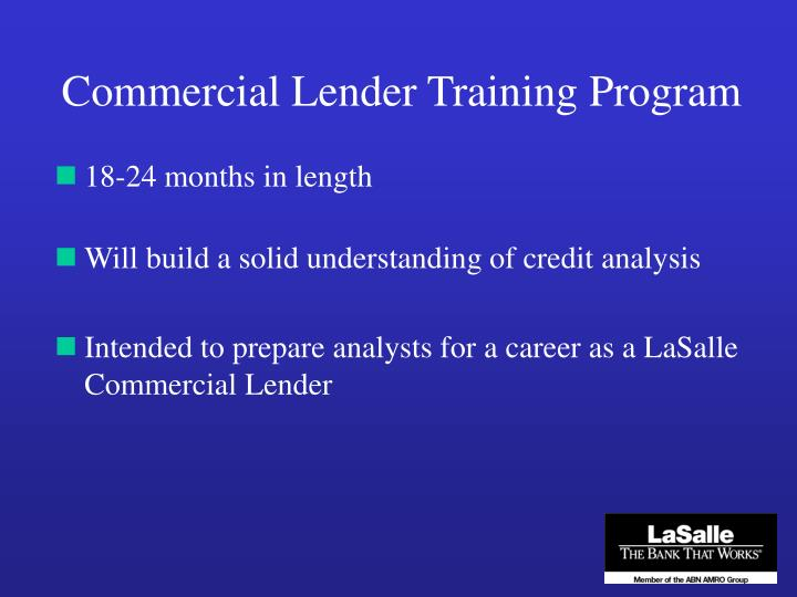Commercial Lender Training Program