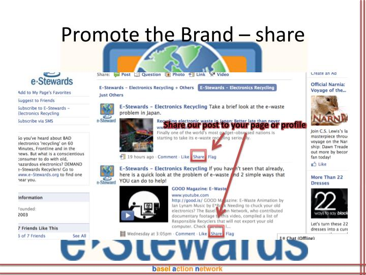 Promote the Brand – share