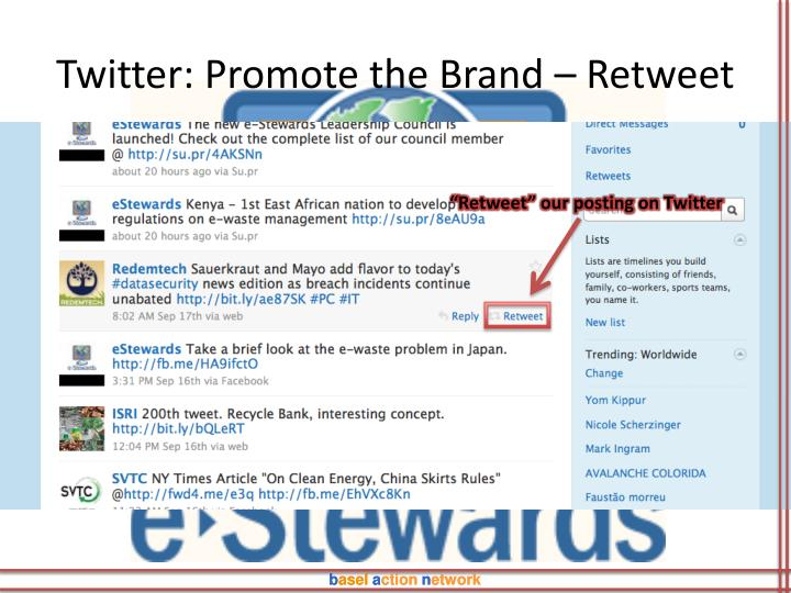 Twitter: Promote the Brand – Retweet