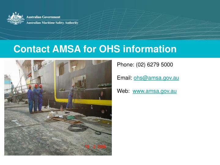 Contact AMSA for OHS information