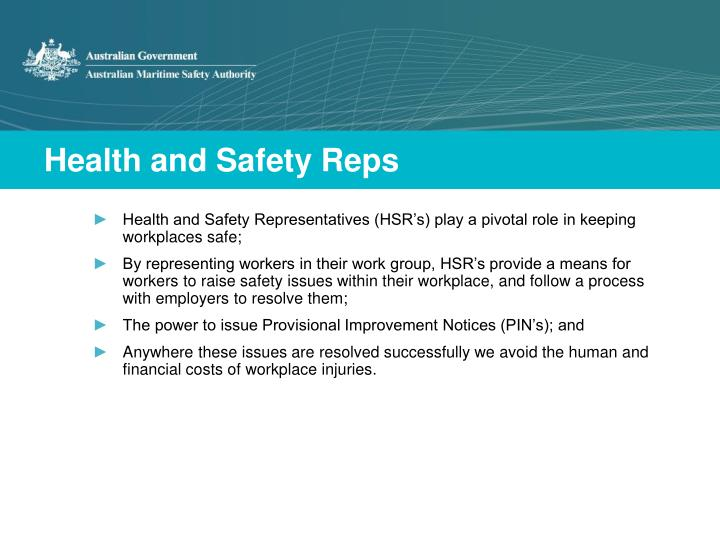 Health and safety reps