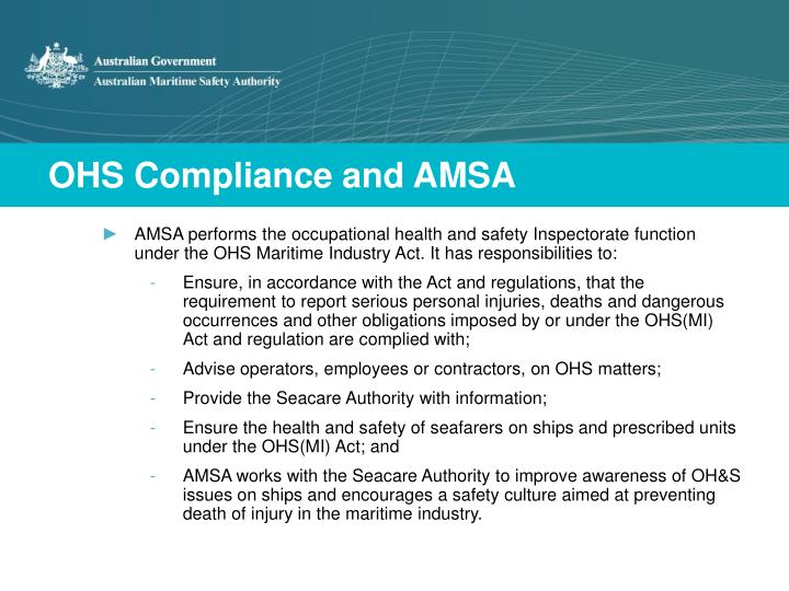 Ohs compliance and amsa