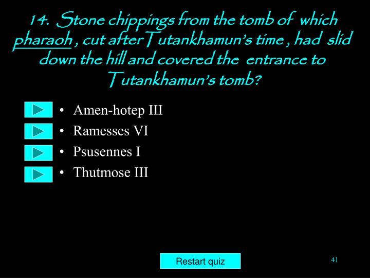 14.  Stone chippings from the tomb of  which