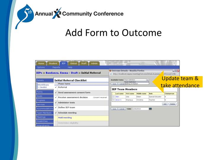 Add Form to Outcome