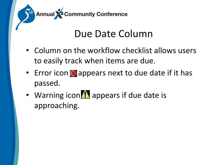 Due Date Column
