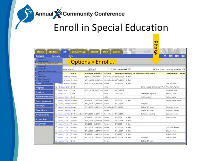 Enroll in special education