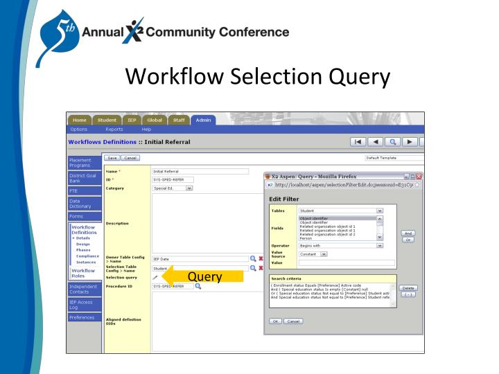 Workflow Selection Query