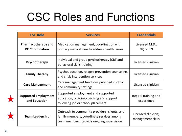 CSC Roles and Functions