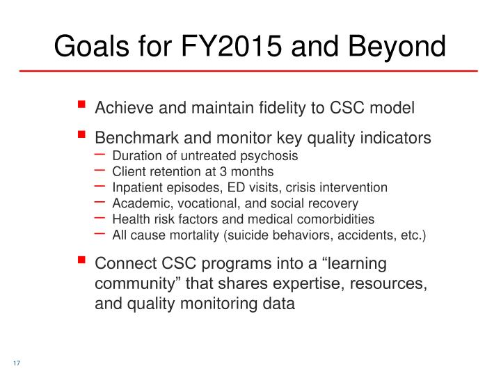 Goals for FY2015 and Beyond