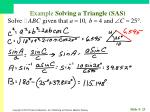 example solving a triangle sas