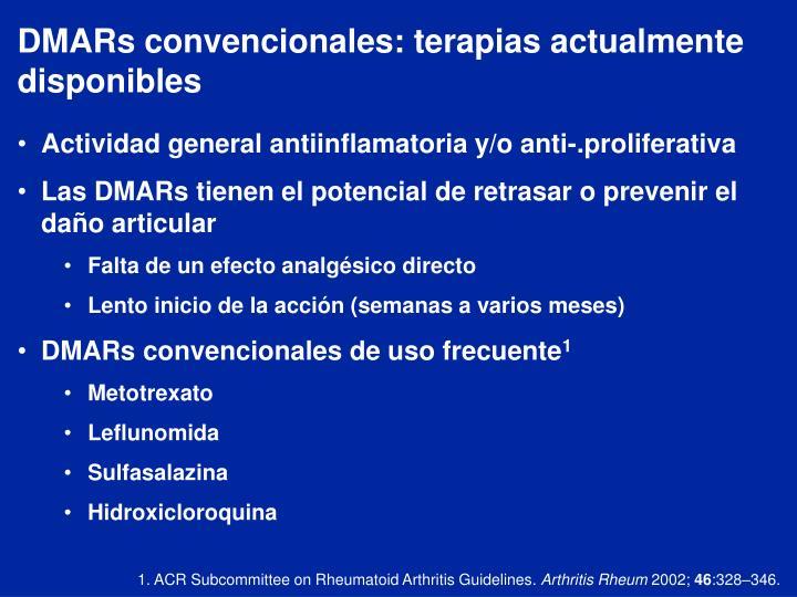DMARs convencionales: terapias actualmente disponibles