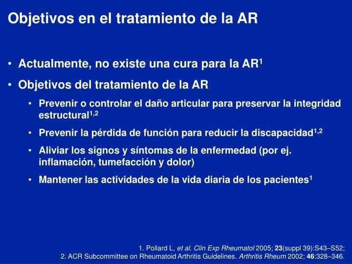 Objetivos en el tratamiento de la AR
