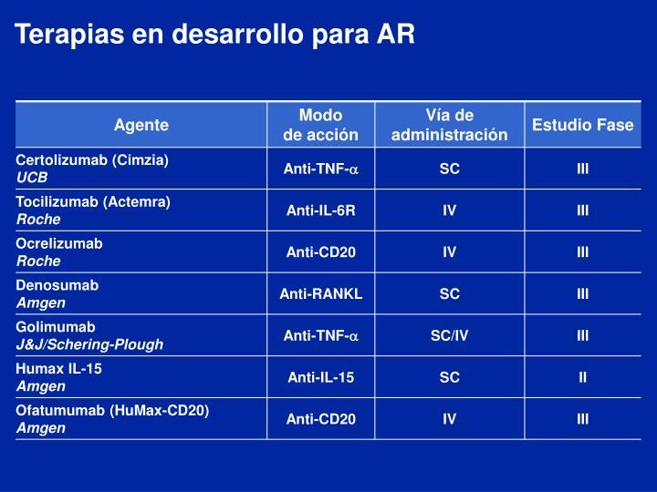 Terapias en desarrollo para AR