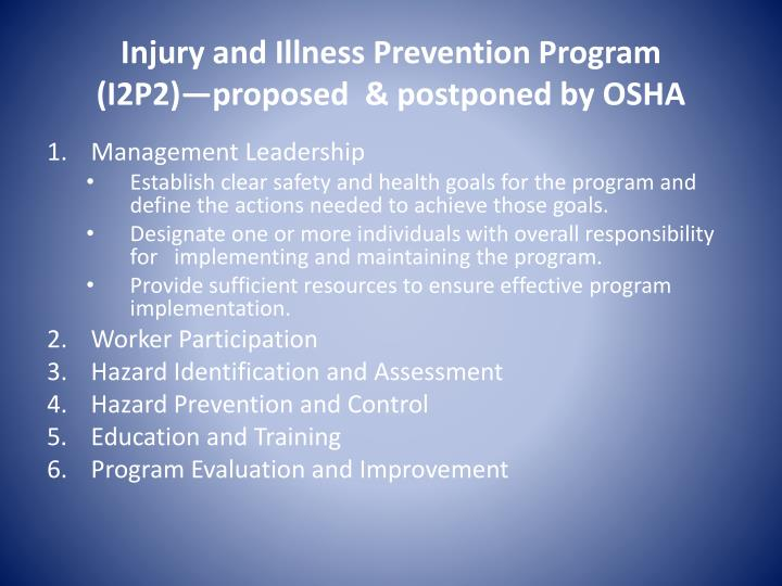 Injury and Illness Prevention Program