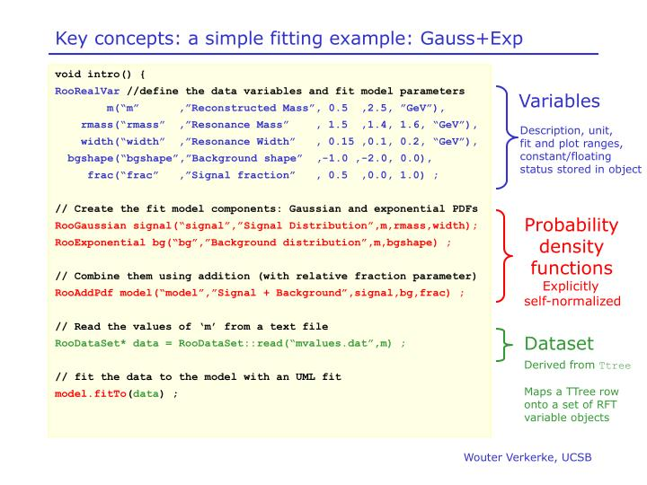 Key concepts: a simple fitting example: Gauss+Exp