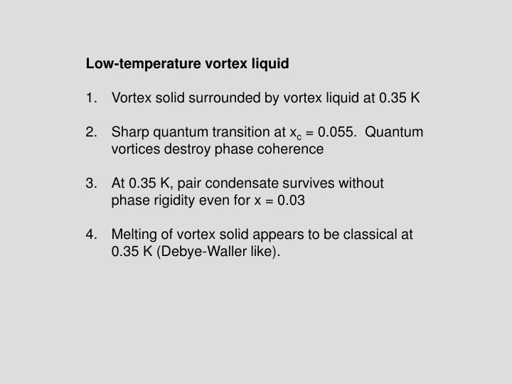 Low-temperature vortex liquid