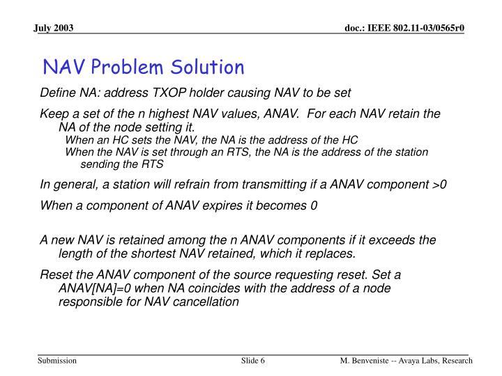 NAV Problem Solution