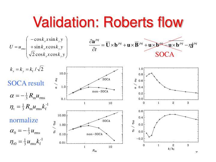 Validation: Roberts flow