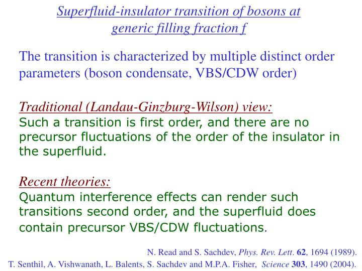 Superfluid-insulator transition of bosons at generic filling fraction f