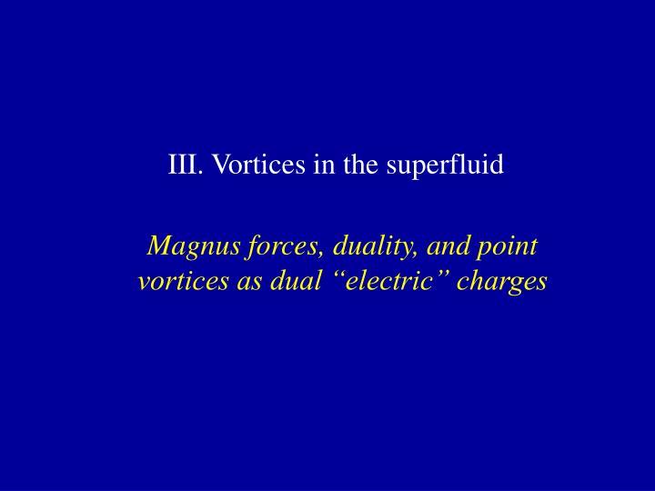 III. Vortices in the superfluid