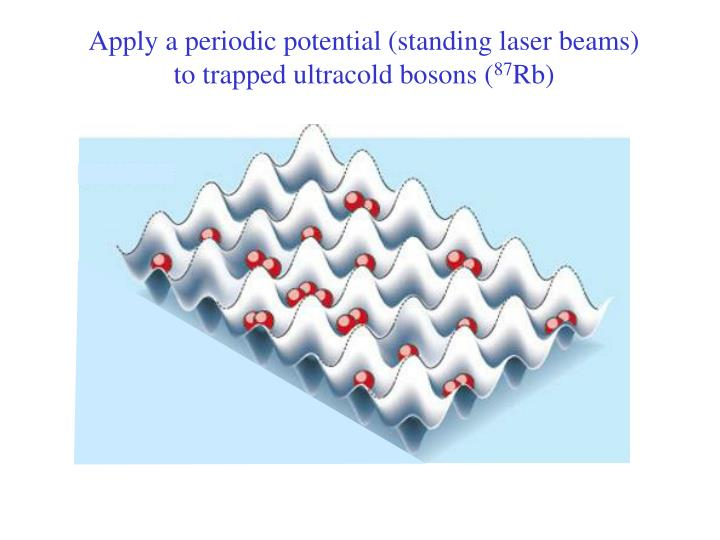 Apply a periodic potential (standing laser beams) to trapped ultracold bosons (