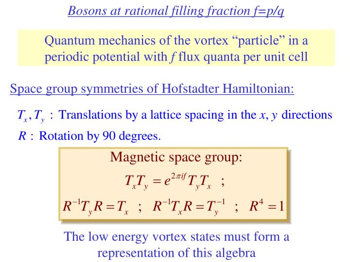 Bosons at rational filling fraction f=p/q