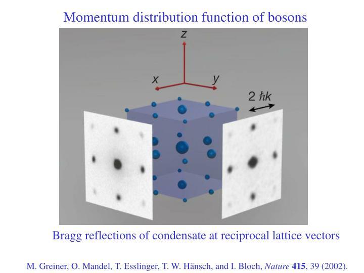 Momentum distribution function of bosons