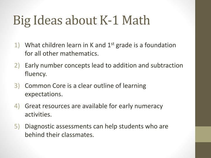 Big Ideas about K-1 Math