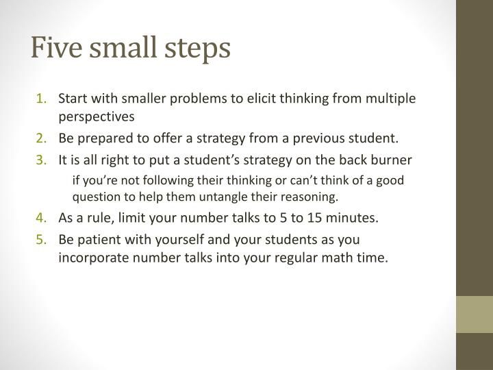 Five small steps