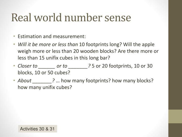 Real world number sense