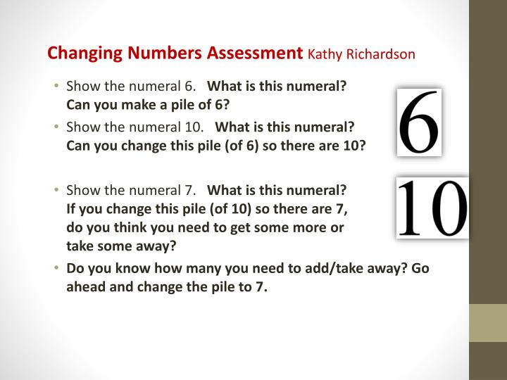 Changing Numbers Assessment