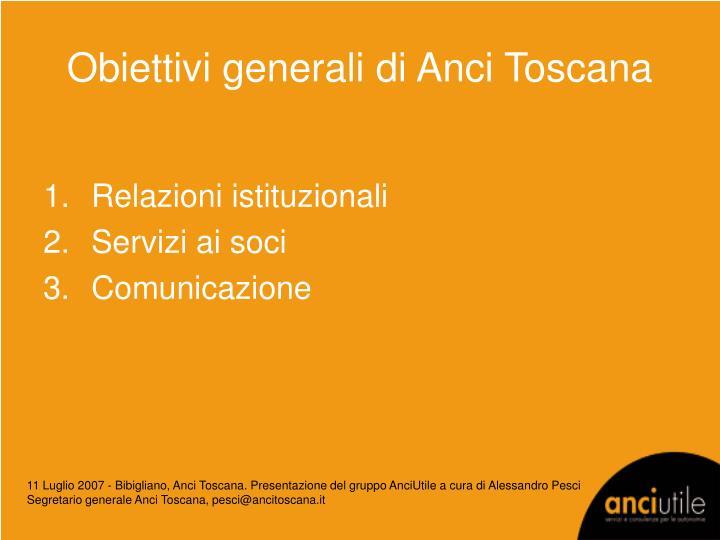 Obiettivi generali di Anci Toscana