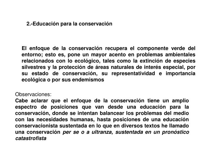2.-Educación para la conservación