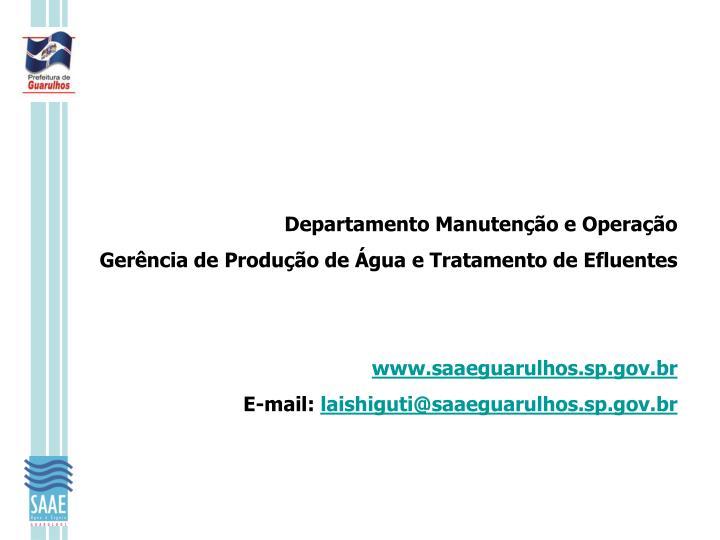 Departamento Manutenção e Operação