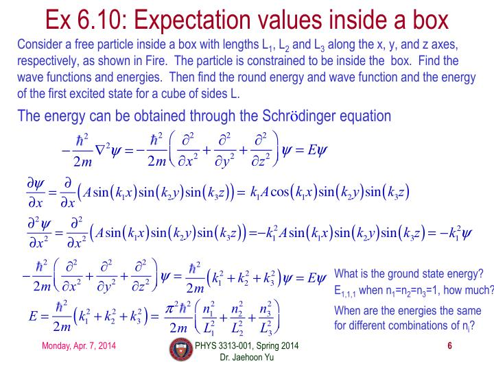 Ex 6.10: Expectation values inside a box