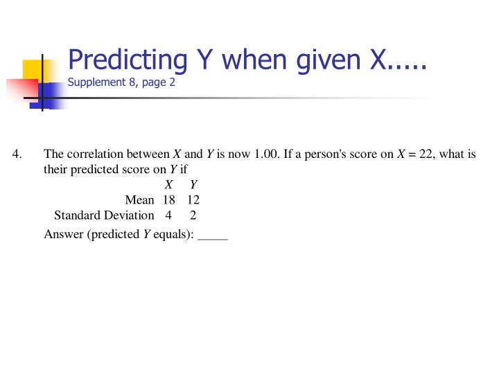 Predicting Y when given X.....