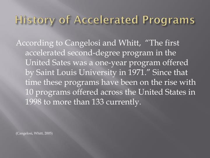 History of Accelerated Programs