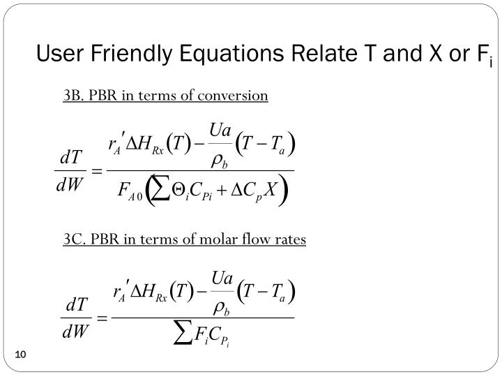 User Friendly Equations Relate T and X or